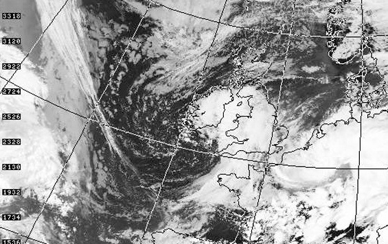 Satellite Image of UK weather 1300 hours - Dundee Satellite Receiving Station