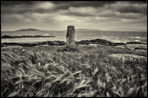 Wind blown grasses in the foreground with a standing stone next to the sea