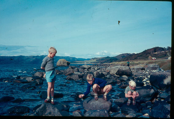 Three Young bothers on the shore of Loch Melfort